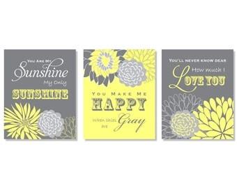 Yellow and Grey Nursery Decor You Are My Sunshine Flower Nursery Kids Art Print Wall