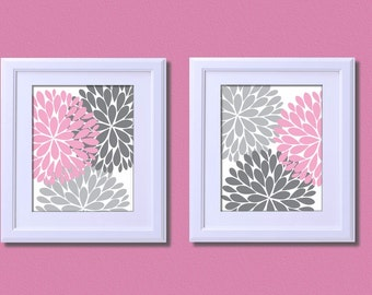 Popular items for pink gray bedroom on etsy for Pink and gray bathroom sets