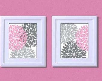 Floral Flower Burst Kids Art Print Nursery Decor Pink Grey