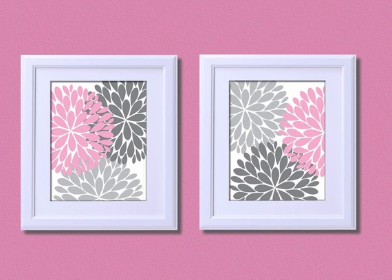 Floral flower burst kids art print nursery decor pink grey for Red and gray bathroom sets