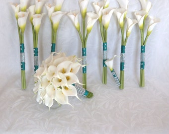 Calla lily wedding bouquet Real touch mini white calla lily bridal bouquet long stem bridesmaids bouquet