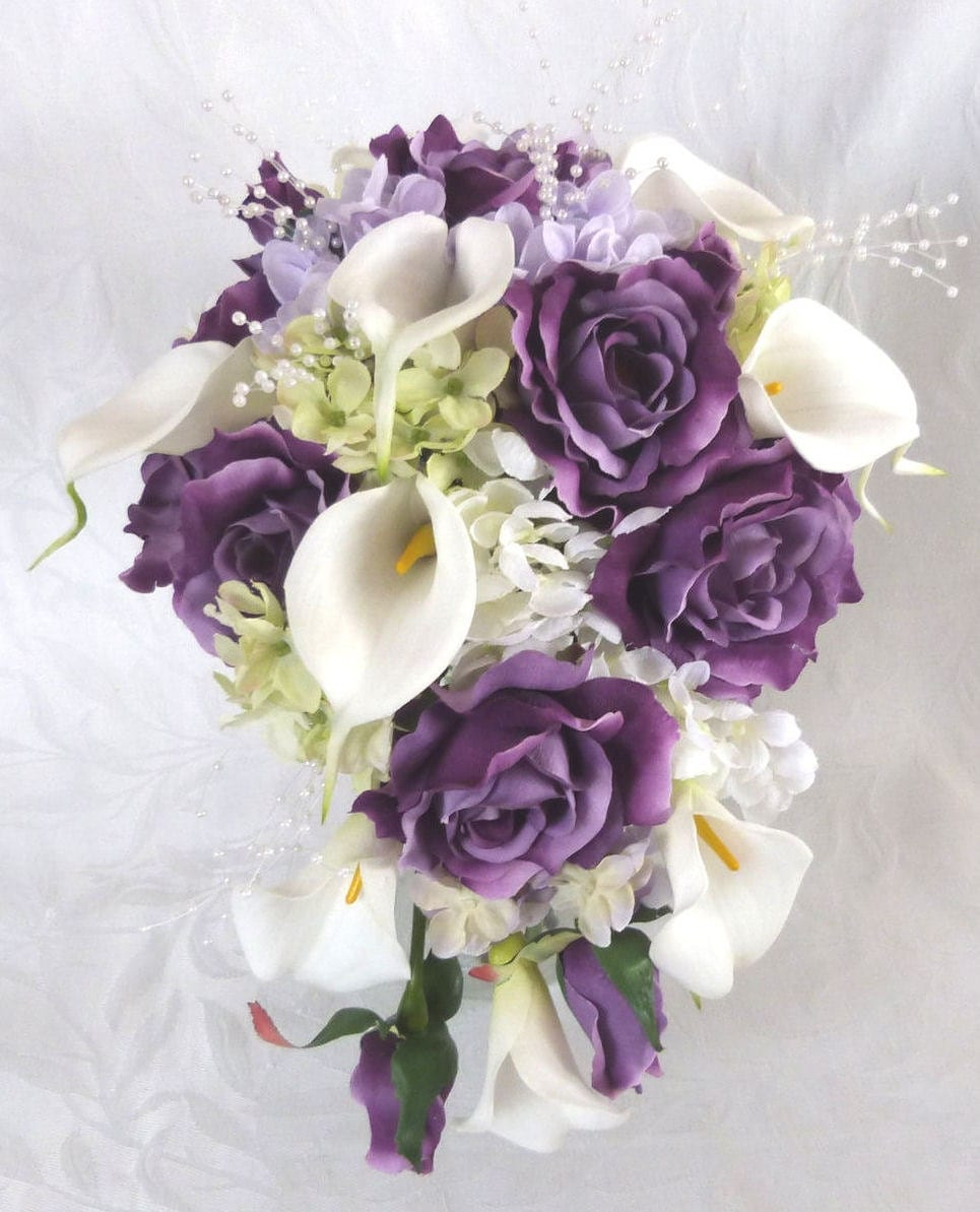 Wedding Bouquets: Reserved Bridal Bouquet Bridesmaid Bouquet Purple Roses Lilac
