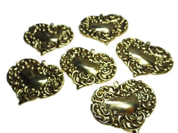 Destash Jewelry Making, Scrap Book or Altered Art Supplies - Gold Brass Stamping Heart Pendants 6