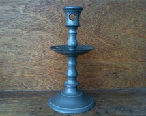 Vintage English Metal Candle StIck with Wax Catcher circa 1930's / English Shop