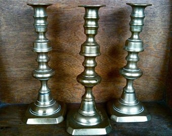 Vintage English Brass Candle Holder Candlestick Mismatched Set of Three circa 1930-40's / English Shop