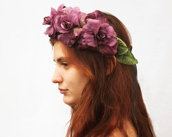 Lavender Rose Crown - Radiant Orchid Purple Rose Flower Crown, Rose Headband, Velvet Rose Headdress. Bridal Crown, Fairy Crown, R15