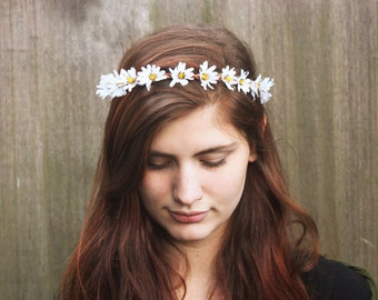 White Daisy Crown, Daisy Flower Crown, Coachella, Festival Clothing, Hippie Headband, Floral Crown, Daisy Flower Headband, Daisy Headpiece