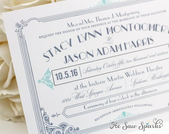 Art Deco Printable Wedding Invitation - The Great Gatsby Collection