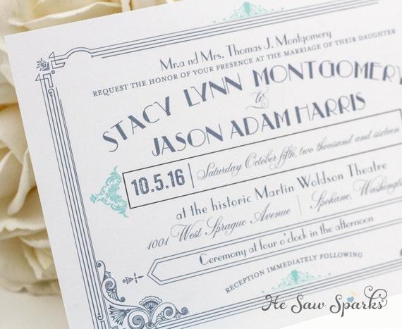 Great Gatsby Wedding Invitation: Art Deco Printable Wedding Invitation The Great Gatsby