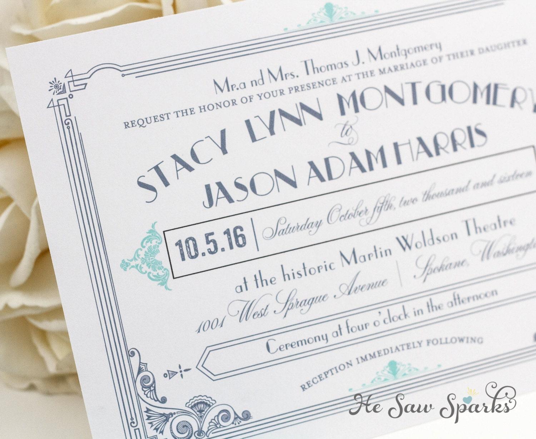 Gatsby Wedding Invites: Art Deco Printable Wedding Invitation The Great Gatsby