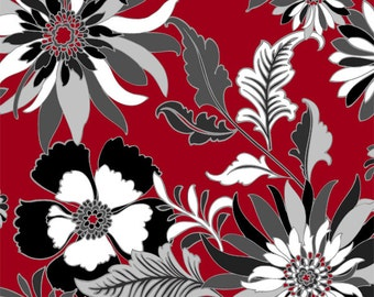 1 Yard of Black, White & Currant lV Red and Black Main Floral by Color Principle for Henry Glass