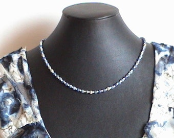 Simple blue and grey Sodalite gemstone choker necklace - healing stone - Free shipping to Canada & USA