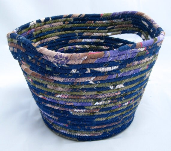 Coiled Rope Basket  Planter Blue Purple Green