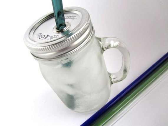 Handle Mason Jar To Go Cup with Glass Straw 16 oz by ManyMinis
