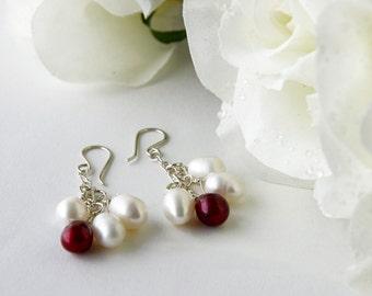 White and Red Colored Freshwater Pearl Christmas Bridal Earrings, Bohemian Dangle Earrings, Hippie Wedding Jewelry,  Elvish Silver Earrings