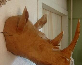 Rhinoceros Trophy Head recycled cardboard
