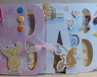 """Pooh Baby Girl """"BABY"""" Premade Chipboard Word Album Just Add Photos"""