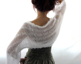 COTTON  SHRUG  .... Hand Knitted  Shrug in White color