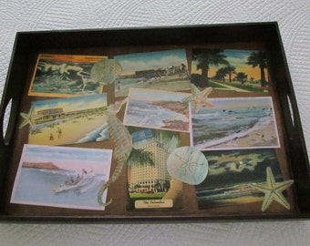 Wood Serving Tray with Vintage Seaside Postcards