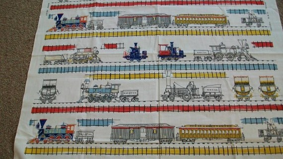 Vintage schumacher train fabric reserved by justforkate on for Train print fabric