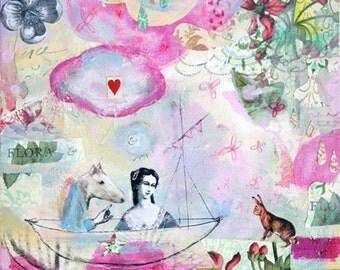 "Original Mixed Media Painting - ""Flora & Fauna"" 12""x12"" Whimsical Art by Angela Petsis"
