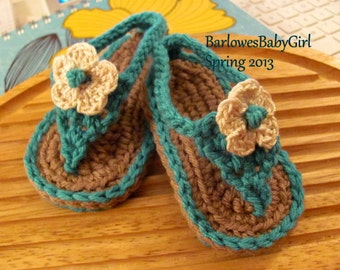Buggs - Crochet Teal Baby Flip Flop Sandals - Pick Your Color