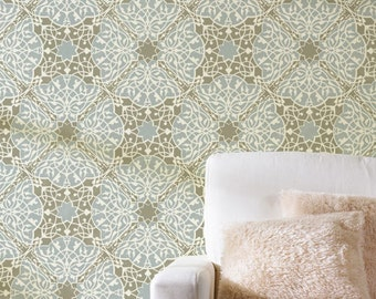 Large Moroccan Wall Stencil Toubkal Lace Stencil for Wall or Floor Painting - Bohemian Painted Wallpaper Look