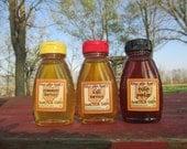 Raw Honey Sampler - Tulip Poplar, Summer, and Fall Honey - Three 8 ounce bottles