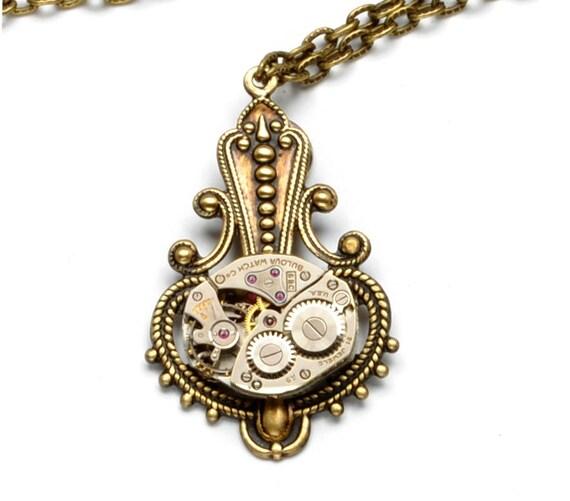 Steampunk Necklace, Steam Punk Necklace, BULOVA Watch Necklace, Antique Brass Wedding Victorian Steampunk Jewelry by Victorian Curiosities