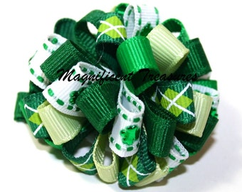 Green Shamrock Loopy Puff Hair Bow