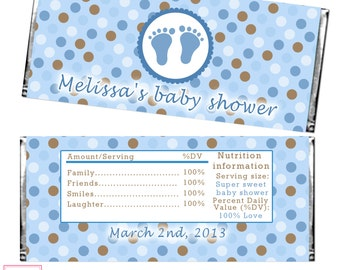 Candy Bar Wrapper Printable Personalized Baby Boy Shower Candy Bar Labels - Printable Stickers Blue Brown Polka Dots Shower Decoration