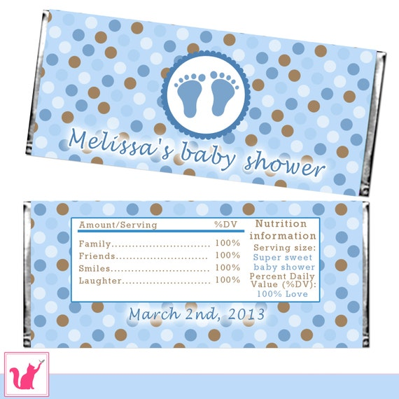 Candy bar wrapper printable personalized baby boy shower candy for Candy bar wrappers template for baby shower printable free
