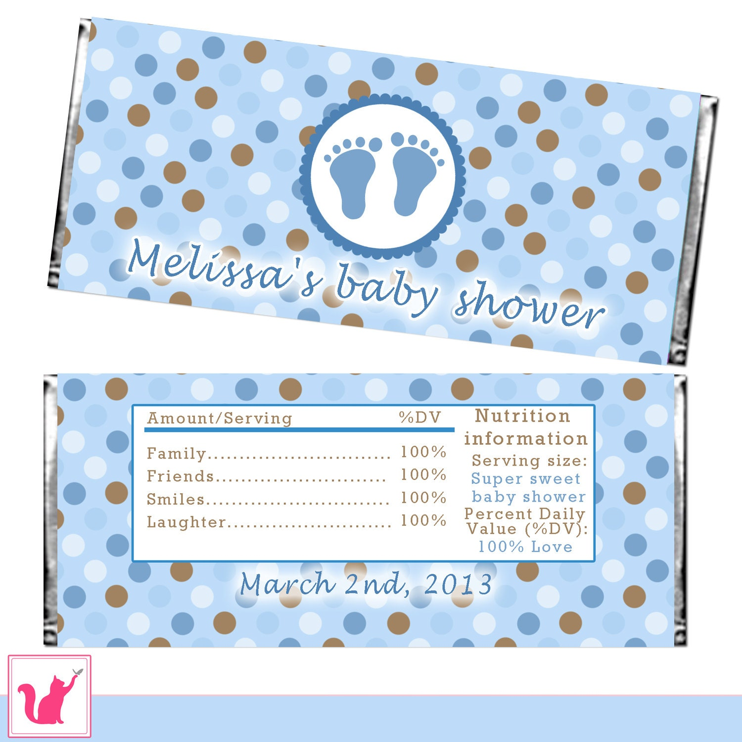 Candy bar wrapper printable personalized baby boy shower candy for Custom candy wrappers templates