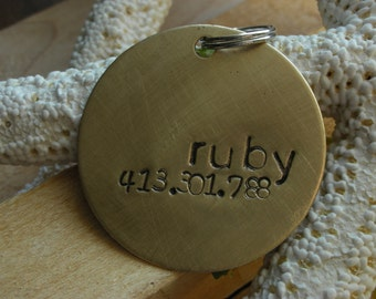 Custom Handstamped Dog/Pet ID Tag-The Ruby