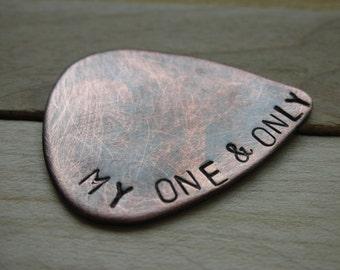 CUSTOM  GUITAR Pick-Handstamped Copper-Great Gift for Fathers Day, Husband, Boyfriend, Dad, Groomsmen