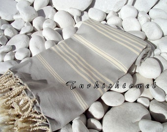 Turkishtowel-NEW Soft-High Quality,Hand Woven,Cotton Bath,Beach,Pool,Spa,Yoga,Travel Towel or Sarong-Natural Cream Stripes on Light Grey
