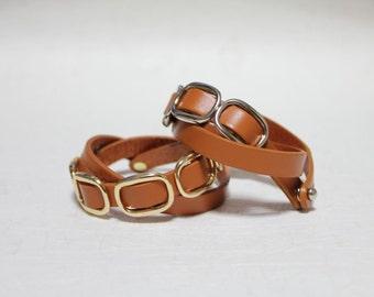 Buckle Leather Bracelet(Calf)