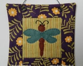 Dragonfly 6 Inch Mini Quilt - Original Hand Made Design