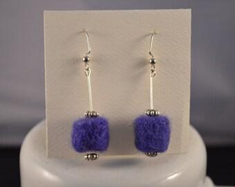 Earrings Handmade Needle Felted Purple Cylinder Shape Dangles