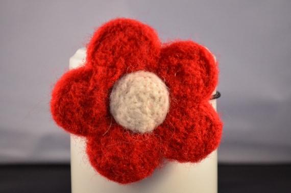 Ponytail Holder Flower Red Handmade