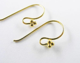 2 pairs of  925 Sterling Silver 24k Gold  Vermeil Style Earwires 8x20 mm. :vm0330
