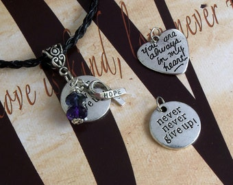 Rheumatoid Arthritis, RA, Pediatric Stroke Awareness 'Never Never Give Up' or 'You Are Always In My Heart' Charm Pendant