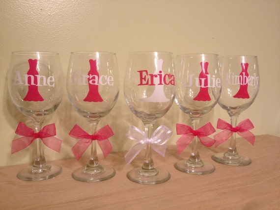 Quantity 5 Bridal gown, Bride, Extra large, Personalized Wine glasses, 20 oz size with name and Tuxedo, Bride or Bridesmaid dress