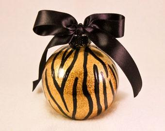 Hand Painted  Ornament, Zebra  Print