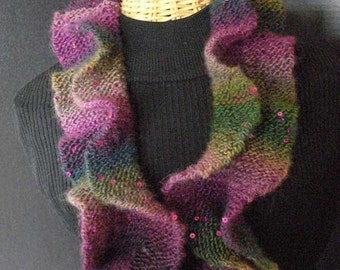 Hand Knit Ruffled Circular Scarf in Purples and Greens with Sequins