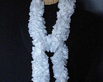Hand Knit Ruffled Scarf in White with Silver Edge