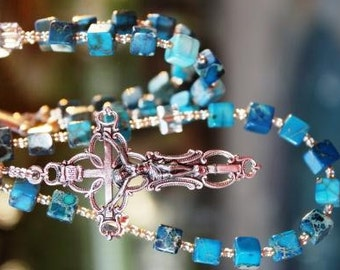 Handmade Rosary Beads with Dyed Turquoise & Swarovski Crystals with Divine Mercy Center