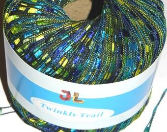 Twinkly Trail Ladder Trellis Yarn col 54a sea Green Blue