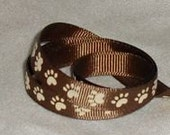 "Paw Print Ribbon / Brown ribbon /  Grosgrain ribbon / 3/8"" X 4 yards"