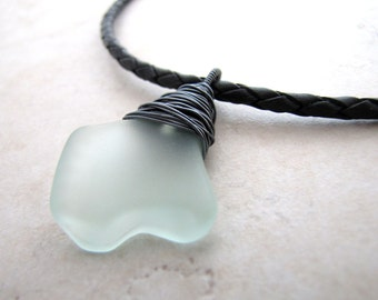 Mens Sea Glass Necklace Seaglass Aqua Unisex Braided Leather AdjustableNecklace Recycled Eco BellinaCreations